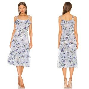 NEW Misa LA Inae Floral Tiered Midi Dress Revolve
